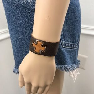 Leather Cross Bracelet with Snap